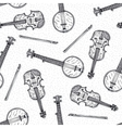 Seamless Pattern with Wooden Fiddle and Banjo vector image