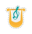 harp lyre music classic dotted line vector image