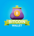 Bitcoin wallet icon with coins vector image