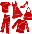 Red clothing with sale percent discount vector image vector image