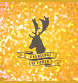 bokeh background with deer emblem vector image