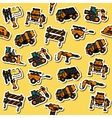 Colored construction machinery pattern vector image