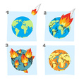 Fall meteorite impact on Earth An asteroid flies vector image