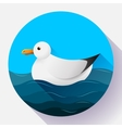 Flat seagull character icon on blue sea background vector image