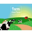 Rural or farm landscape with cows vector image