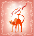 card with a cat and the cat and heart vector image