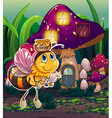 A flying bee near the enchanted mushroom house vector image