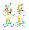 People On Bikes Set vector image