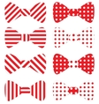 Set of red bow ties vector image