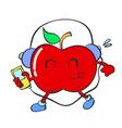 character of red apple vector image