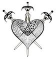Heartbreak - Heart and Crossed three swords vector image