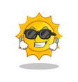 super cool cute sun character cartoon vector image