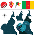 Cameroon map with named divisions vector image