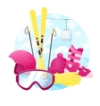set of detailed flat skiing equipment vector image