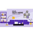 flat design banner of living room vector image vector image