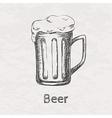 hand drawn sketch of beer mug vector image
