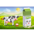 Cute cow and milk pack vector image