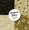 Merry christmas pattern set gold retro 80s holiday vector image