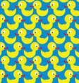 Bathing duck seamless pattern Background of yellow vector image