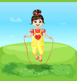 cartoon happy joyful cheerful smiling girl vector image