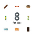 flat icon meal set of spaghetti packet beverage vector image