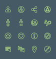 Green outline various social network actions icons vector image