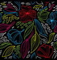 linear floral seamless pattern vector image