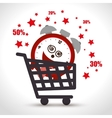 shopping cart sale clock offer discount vector image