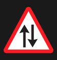 two way traffic sign flat icon vector image