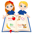 Two kids and ABC book vector image vector image