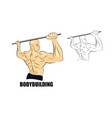 Man on the bar athlete sketch vector image