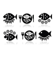 Fish and chips icons set vector image vector image