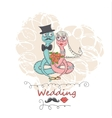 hand drawing cartoon abstract love and wedding vector image