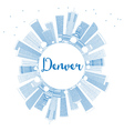 Outline Denver Skyline with Blue Buildings vector image