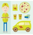 a man delivering pizza vector image