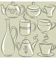 set of different tableware vector image