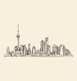 Shanghai China city architecture vintage vector image