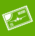 stamp with plane and text miami inside icon green vector image