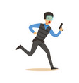 police officer in body armor and mask running with vector image