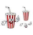 Stripe soda or juice cup with happy face and vector image