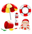 Beach set in red tone vector image