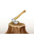 axe in stump vector image