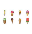 different ice cream icons in set collection for vector image