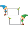 Elf Mascot Holding Blank Board vector image