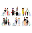 set of traveling families and couples different vector image