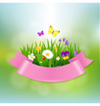 spring flowers with pink ribbon vector image
