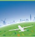 amsterdam skyline flight destination vector image