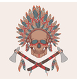 human skull in native american indian chi vector image