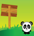 panda with signboard in the nature art color vector image