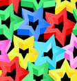 Colorful 3D stars on black seamless pattern vector image